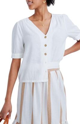 Madewell Plaza Button Front Linen Blend Shirt