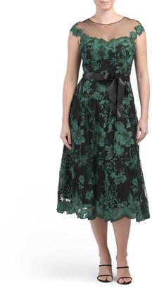 Cap Sleeve Metallic Lace Applique Dress