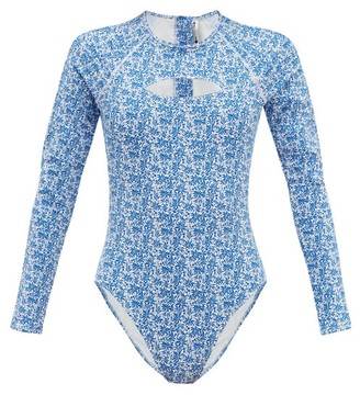 The Upside China Print Stretch Jersey Paddle Suit - Womens - Blue White
