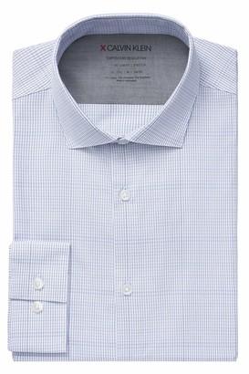 Calvin Klein Men's Dress Shirts Xtreme Slim Fit Check Thermal Stretch