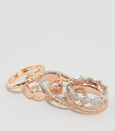 New Look 6 Pack Hammered Stacking Rings