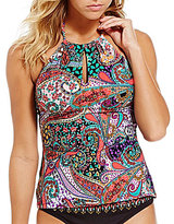 Kenneth Cole Reaction Gypsy High Neck Paisley Print Tankini