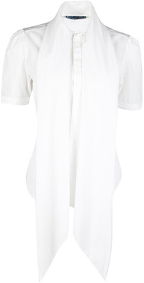 Ralph Lauren White Cotton Draped Collar Short Sleeve Blouse M