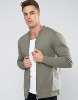 Asos Oversized Jersey Bomber Jacket With Woven Panels