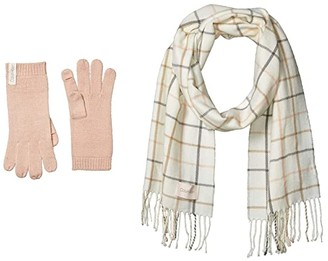 Calvin Klein Plaid Woven Scarf and Gloves Set (Eggshell) Scarves