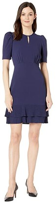 Maggy London Catalina Crepe Draped Sleeve Dress (Navy) Women's Dress
