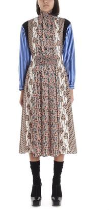 Prada Patchwork Pleated Midi Dress