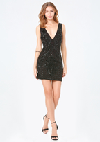 Bebe Beaded Plunge Neck Dress