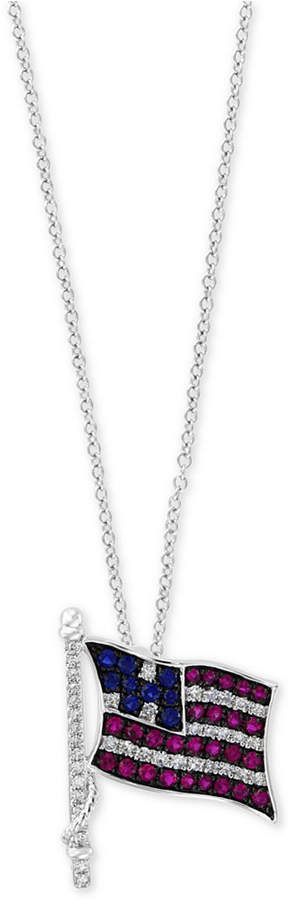 "Effy Multi-Gemstone (3/8 ct. t.w.) & Diamond (1/5 ct. t.w.) in 18"" Pendant Necklace in 14k White Gold"