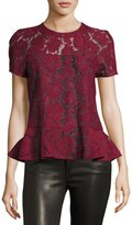 Romeo & Juliet Couture Short-Sleeve Sheer Lace Peplum Top, Burgundy