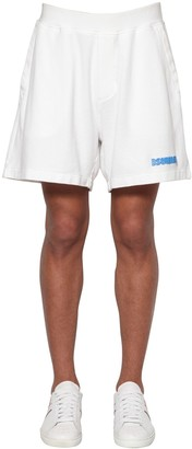 DSQUARED2 Macro Logo Print Cotton Pique Shorts