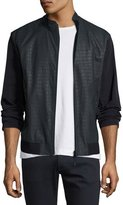 Armani Collezioni Croc-Embossed Perforated Leather Jacket, Navy Blue