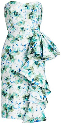 Badgley Mischka Strapless Floral Printed Mikado Dress