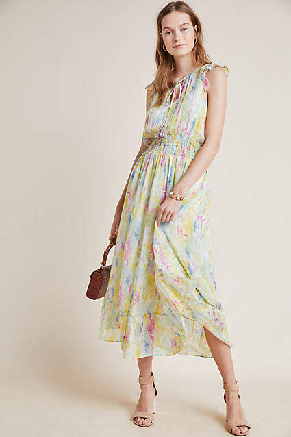 Anthropologie Watercolor Maxi Dress