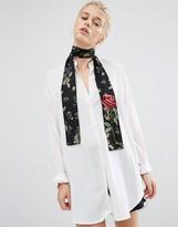 Asos Floral Neckscarf With Applique Rose