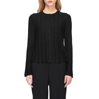 Emporio Armani Sweater Cardigan In Lurex Ribbed Knit