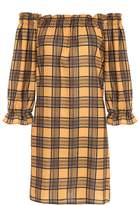 Quiz Mustard And Black Check 3/4 Sleeve Tunic Dress