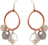 Lily Flo Jewellery Solid Rose Gold Circle Earrings With Grey & White Freshwater & Baroque Pearl Earrings