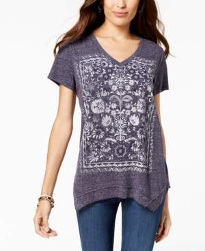 Style&Co. Style & Co Petite Graphic Handkerchief-Hem Top, Created for Macy's