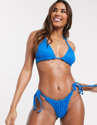 We Are We Wear mix and match reversible ribbed triangle bikini top in cobalt blue