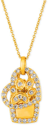 "LeVian Le Vian I Love Dogs Collection Nude Diamond Heart & Paw Dog Tag 20"" Pendant Necklace (7/8 ct. t.w.) in 14k Gold"