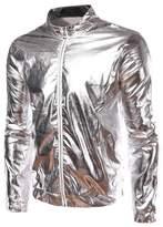 JKQA Men's Metallic Gold Front-Zip Jacket (L, )
