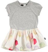 Molo Calias Raglan Mixed-Media Dress, White/Gray, Size 12-24 Months