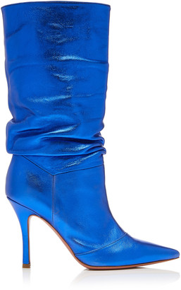 Amina Muaddi Ida Metallic Leather Knee Boots