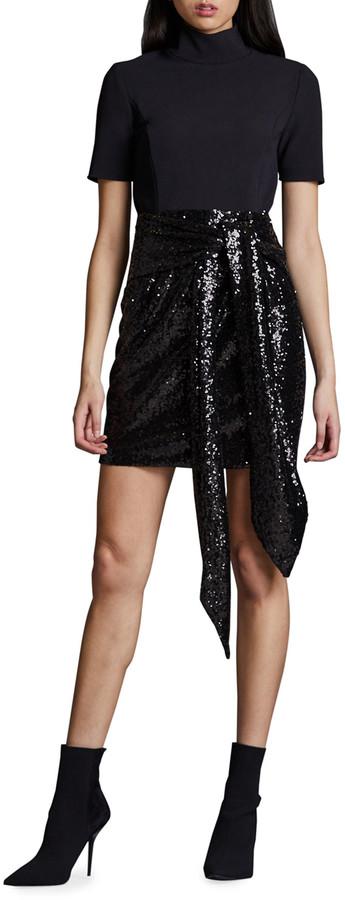 Toccin Short-Sleeve Mini Combo Dress with Sequin Skirt