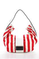 Giorgio Armani White Red Leather Trim Striped Squeeze Clasp Hobo Shoulder Bag