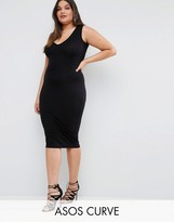 Asos Midi Bodycon Dress With V-Neck