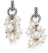 David Yurman Pearl & Sterling Silver Cluster Drop Earrings