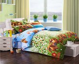 MeMoreCool Home Textile Cute Kids Students Bedding Set Cartoon Boonie Bears Pattern Duvet Cover Boys and Girls 100% Cotton Bedding Fillet Bed Sheets Twin Size 3Pcs
