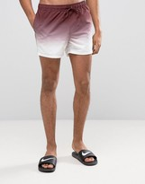 Asos Swim Shorts In Dip Dye Burgundy Short Length