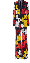 Naeem Khan Beaded Floral Plunging V-neck Wide-legged Jumpsuit