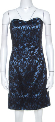 Paul And Joe Paul & Joe Black and Blue Floral Lace and Satin Strapless Cocktail Dress L