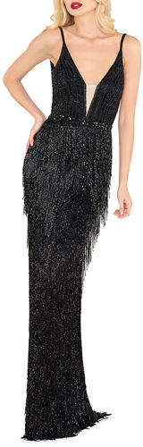Mac Duggal Plunging-Neck Beaded Fringed Gown