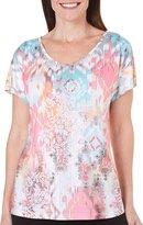 Gloria Vanderbilt Womens Opal Top Short Sleeve V-Neck Jewel Embellished Shirt
