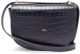 A.P.C. Geneve Crocodile-effect Leather Cross-body Bag - Navy