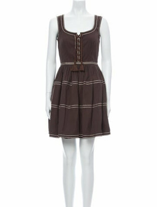 Prada Scoop Neck Mini Dress Brown