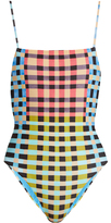 Mara Hoffman Plaid Mustard-print high-leg swimsuit