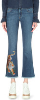 Stella McCartney Tiger-embroidered flared cropped mid-rise jeans
