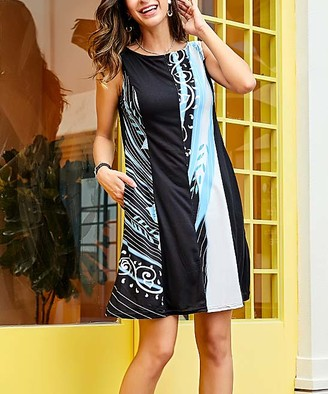 Reborn Collection Women's Casual Dresses Black - Black & Blue Floral Sleeveless High-Neck Contrast Dress - Women