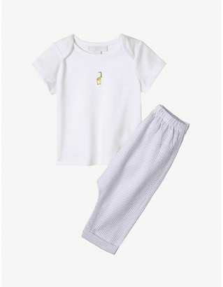 The Little White Company Kimbo logo-embroidered cotton and seersucker pyjamas 0-24 months