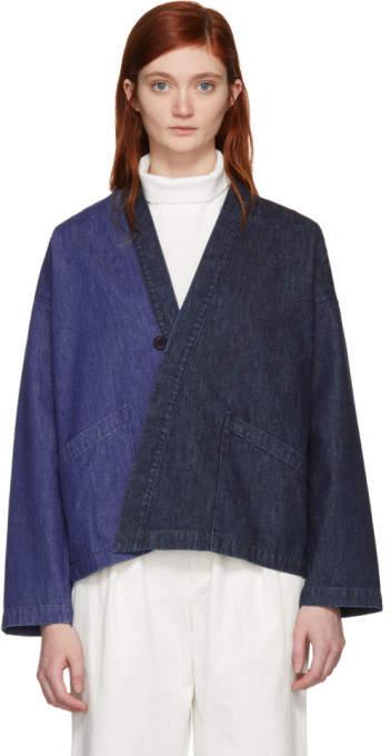 Blue Blue Japan Indigo Denim Haori Cardigan