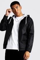 boohoo Mens Black Hooded Zip Through Jacket, Black