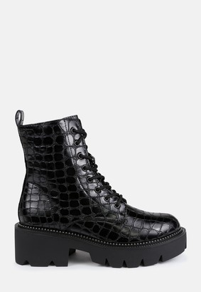 Missguided Black Croc Lace Up Ankle Boots