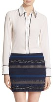 Alice + Olivia Women's 'Glenda' Lace Trim Stretch Silk Blouse
