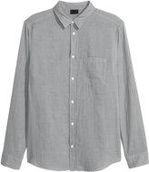 H&M Double-weave Cotton Shirt - Gray - Men