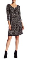 Maggy London 3/4 Length Sleeve Printed Sweater Dress